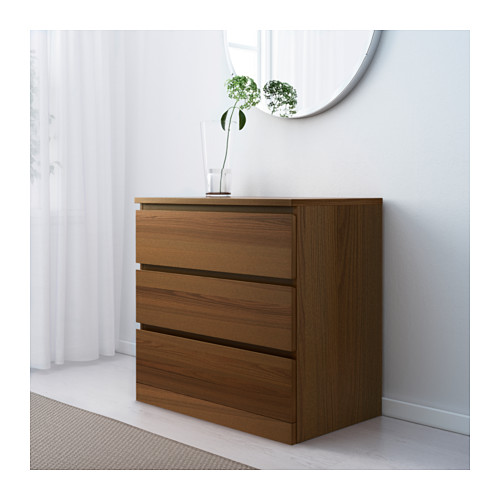 MALM - chest of 3 drawers, brown stained ash veneer | IKEA Hong Kong and Macau - PE624256_S4