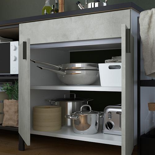 ENHET - 角位廚房, 炭黑色/仿混凝土 白色 | IKEA 香港及澳門 - PE818737_S4