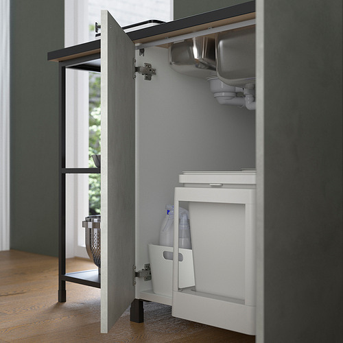 ENHET - 角位廚房, 炭黑色/仿混凝土 白色   IKEA 香港及澳門 - PE818742_S4