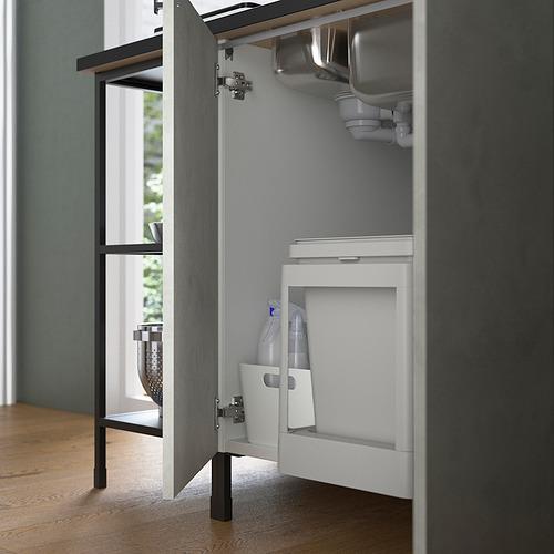 ENHET - 角位廚房, 炭黑色/仿混凝土 白色 | IKEA 香港及澳門 - PE818741_S4