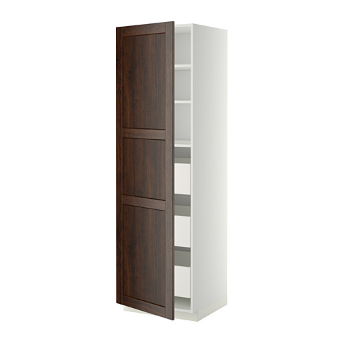 METOD/MAXIMERA - high cabinet with drawers, white/Edserum brown | IKEA 香港及澳門 - PE342763_S4