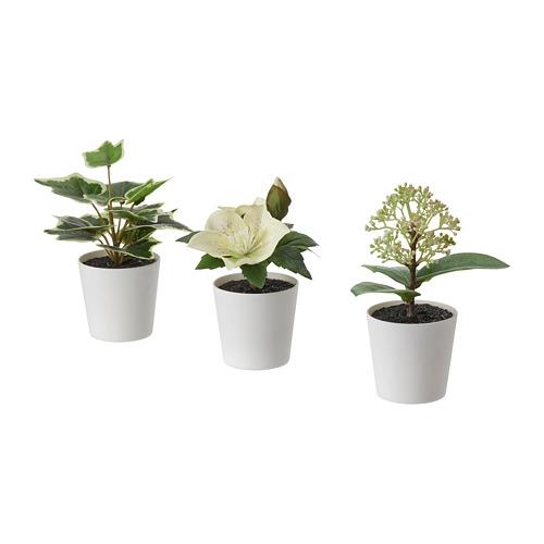 FEJKA - 人造盆栽連花盆,3件套裝, 室內/戶外用/綠色/白色   IKEA 香港及澳門 - PE819174_S4