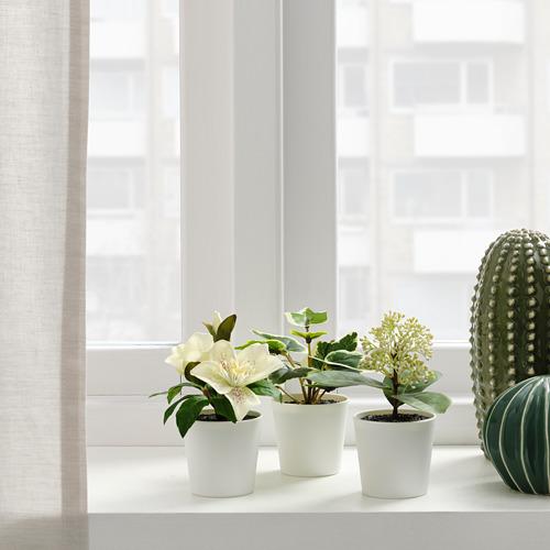FEJKA - 人造盆栽連花盆,3件套裝, 室內/戶外用/綠色/白色   IKEA 香港及澳門 - PE819197_S4