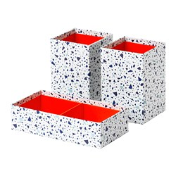 MÖJLIGHET - box, set of 3, red/mosaic patterned | IKEA Hong Kong and Macau - PE723297_S3