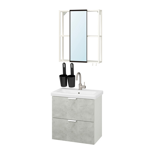 TVÄLLEN/ENHET - bathroom furniture, set of 13, concrete effect/white Glypen tap | IKEA Hong Kong and Macau - PE819147_S4