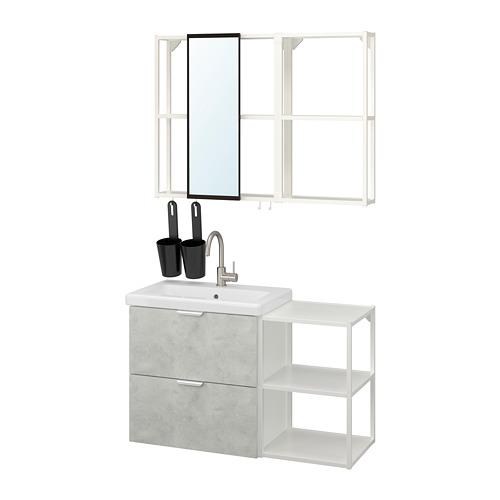 TVÄLLEN/ENHET - 浴室貯物組合 15件裝, concrete effect/white Glypen tap   IKEA 香港及澳門 - PE819164_S4