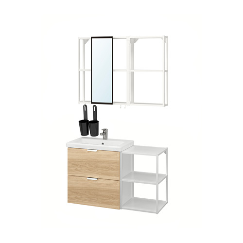 TVÄLLEN/ENHET - 浴室貯物組合 15件裝, oak effect/white Ensen tap | IKEA 香港及澳門 - PE819169_S4