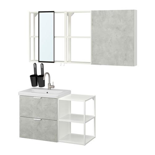 TVÄLLEN/ENHET - bathroom furniture, set of 18, concrete effect/white Glypen tap | IKEA Hong Kong and Macau - PE819142_S4