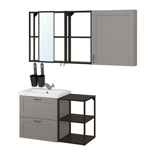 TVÄLLEN/ENHET - bathroom furniture, set of 18, grey frame/anthracite Runskär tap   IKEA Hong Kong and Macau - PE819166_S4