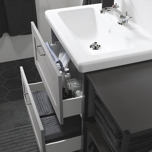 TVÄLLEN/ENHET - bathroom furniture, set of 18, grey frame/anthracite Runskär tap   IKEA Hong Kong and Macau - PE819167_S4