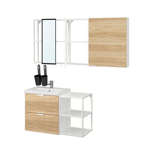 TVÄLLEN/ENHET - 浴室貯物組合 18件裝, oak effect/white Ensen tap | IKEA 香港及澳門 - PE819152_S4