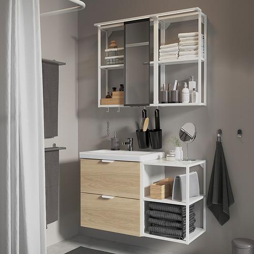 TVÄLLEN/ENHET - 浴室貯物組合 15件裝, oak effect/white Ensen tap | IKEA 香港及澳門 - PE819212_S4