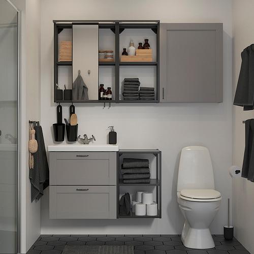 TVÄLLEN/ENHET - bathroom furniture, set of 18, grey frame/anthracite Runskär tap   IKEA Hong Kong and Macau - PE819228_S4