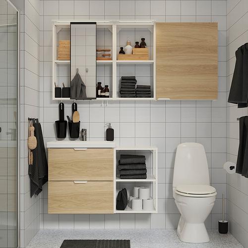 TVÄLLEN/ENHET - 浴室貯物組合 18件裝, oak effect/white Ensen tap | IKEA 香港及澳門 - PE819227_S4