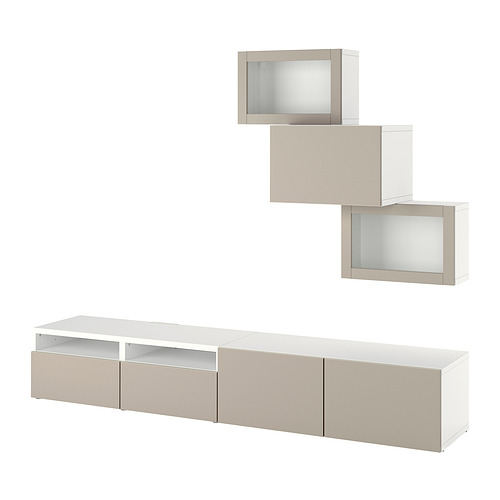 BESTÅ - 電視貯物組合/玻璃門, white Sindvik/Lappviken light grey-beige | IKEA 香港及澳門 - PE819222_S4