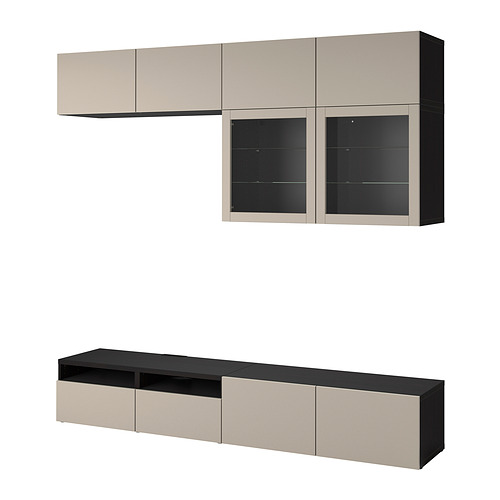 BESTÅ - 電視貯物組合/玻璃門, black-brown Sindvik/Lappviken light grey/beige   IKEA 香港及澳門 - PE819246_S4