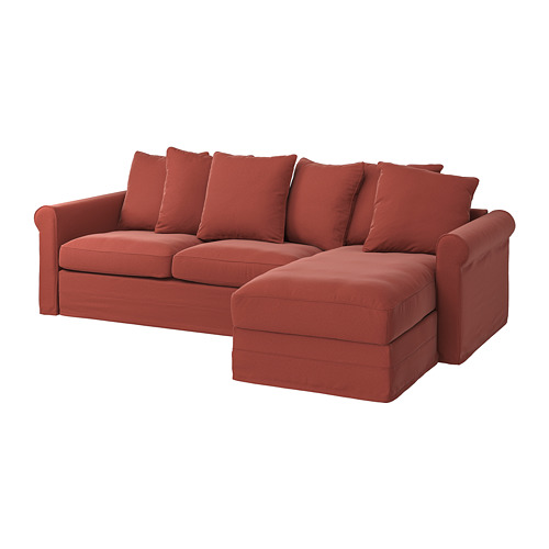 GRÖNLID - 3-seat sofa-bed, with chaise longue/Ljungen light red | IKEA Hong Kong and Macau - PE782206_S4
