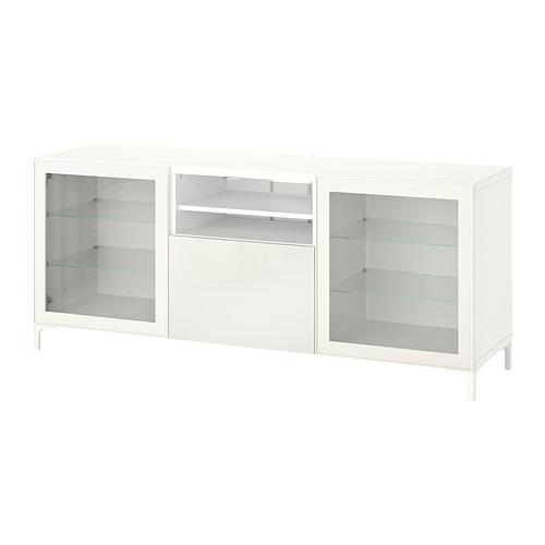 BESTÅ - TV bench with drawers, white Glassvik/Selsviken/Nannarp white | IKEA 香港及澳門 - PE819299_S4