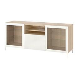 BESTÅ - TV bench with drawers, white stained oak effect Glassvik/Selsviken/Nannarp white   IKEA 香港及澳門 - PE819301_S3