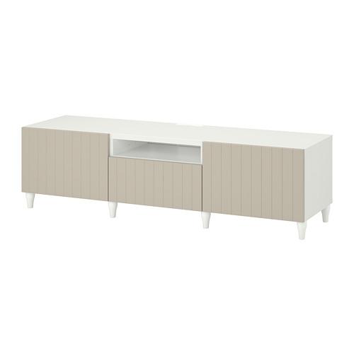 BESTÅ - TV bench, white/Sutterviken/Kabbarp grey-beige | IKEA 香港及澳門 - PE782235_S4