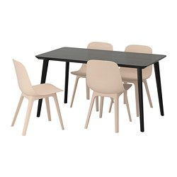 ODGER/LISABO - table and 4 chairs, black/beige | IKEA Hong Kong and Macau - PE674064_S3