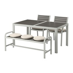 SJÄLLAND - 戶外餐檯椅及長凳組合, 深灰色/Frösön/Duvholmen 米黃色   IKEA 香港及澳門 - PE674100_S3