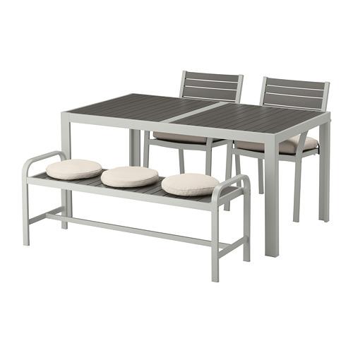 SJÄLLAND table+2 chairs+ bench, outdoor