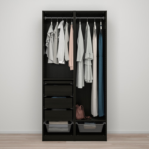 PAX/FORSAND - wardrobe combination, black-brown stained ash effect | IKEA Hong Kong and Macau - PE819429_S4