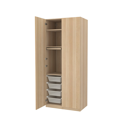 PAX/FORSAND - wardrobe combination, white stained oak effect | IKEA Hong Kong and Macau - PE819453_S4