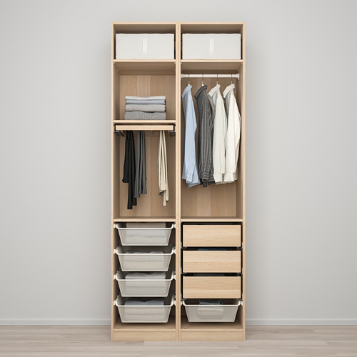 PAX/FORSAND - wardrobe combination, white stained oak effect | IKEA Hong Kong and Macau - PE819450_S4