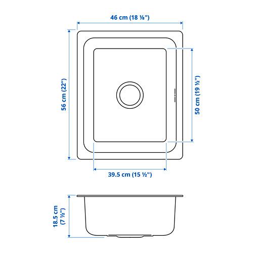 HILLESJÖN - 單星盆, 不銹鋼 | IKEA 香港及澳門 - PE819456_S4