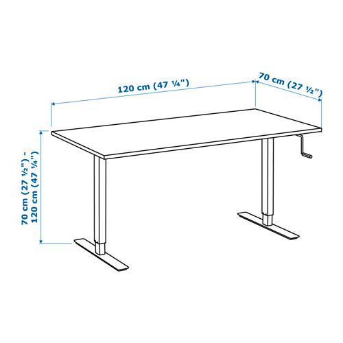 SKARSTA - 升降式書檯, 120x70, 白色 | IKEA 香港及澳門 - PE625256_S4