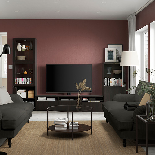 BESTÅ - 電視貯物組合/玻璃門, black-brown/Lappviken black-brown clear glass | IKEA 香港及澳門 - PE819566_S4