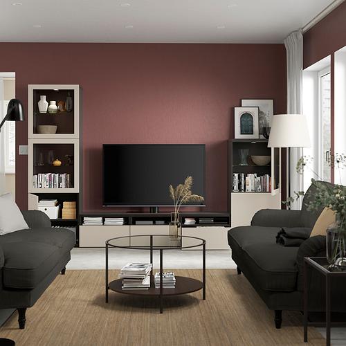 BESTÅ - 電視貯物組合/玻璃門, black-brown Sindvik/Lappviken light grey/beige | IKEA 香港及澳門 - PE819558_S4