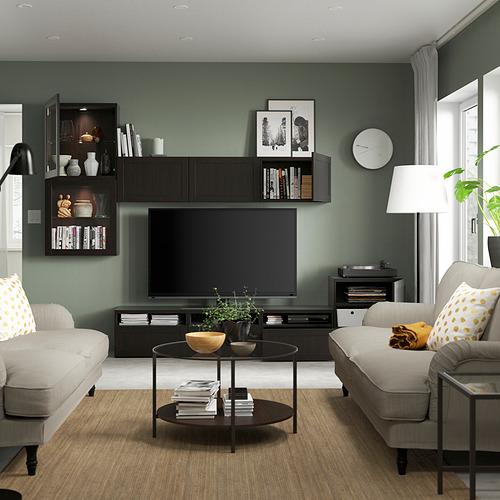 BESTÅ - 電視貯物組合/玻璃門, black-brown/Hanviken black-brown clear glass | IKEA 香港及澳門 - PE819622_S4
