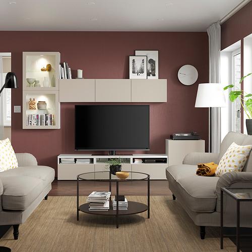 BESTÅ - 電視貯物組合/玻璃門, white Lappviken/light grey-beige clear glass | IKEA 香港及澳門 - PE819639_S4