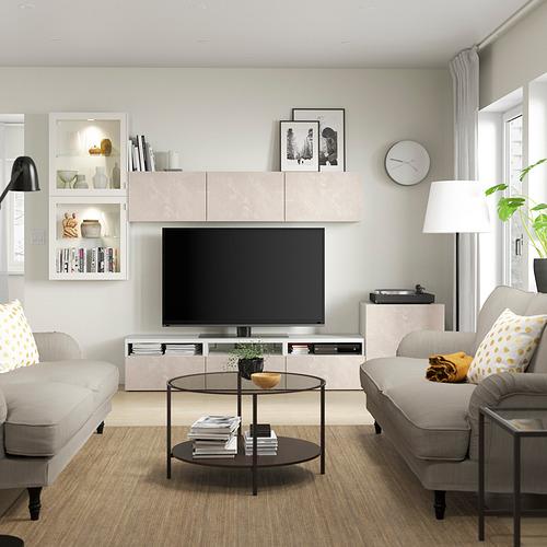 BESTÅ - 電視貯物組合/玻璃門, white Glassvik/Bergsviken beige   IKEA 香港及澳門 - PE819636_S4
