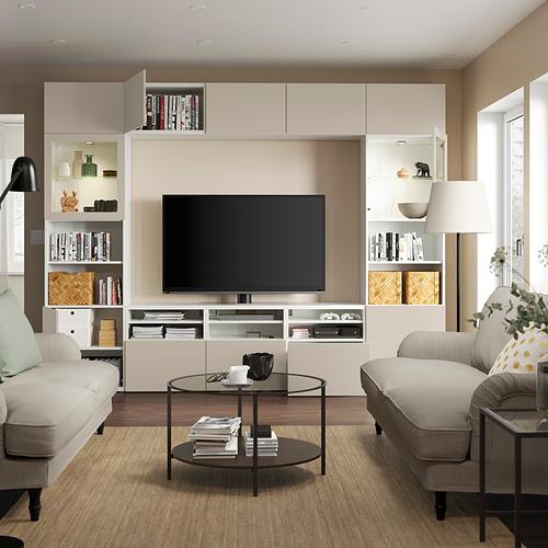 BESTÅ - 電視貯物組合/玻璃門, white Sindvik/Lappviken light grey/beige   IKEA 香港及澳門 - PE819655_S4