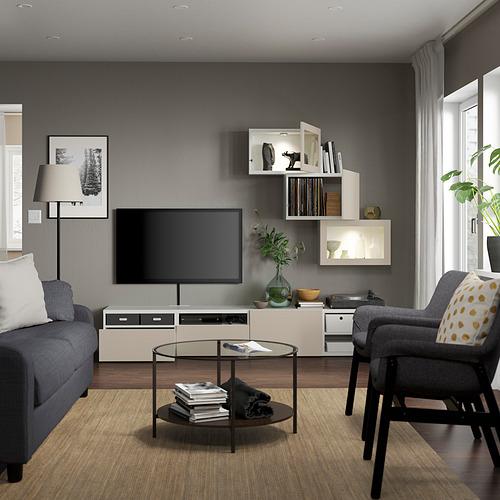 BESTÅ - 電視貯物組合/玻璃門, white Sindvik/Lappviken light grey-beige | IKEA 香港及澳門 - PE819686_S4