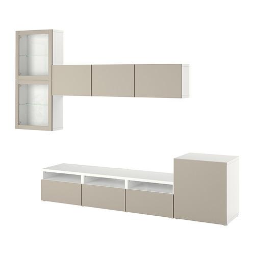 BESTÅ - 電視貯物組合/玻璃門, white Lappviken/light grey-beige clear glass | IKEA 香港及澳門 - PE819708_S4
