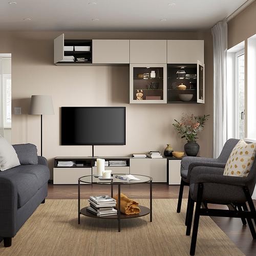 BESTÅ - 電視貯物組合/玻璃門, black-brown Sindvik/Lappviken light grey/beige   IKEA 香港及澳門 - PE819723_S4