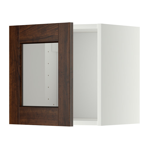 METOD - wall cabinet with glass door, white/Edserum brown   IKEA Hong Kong and Macau - PE344750_S4