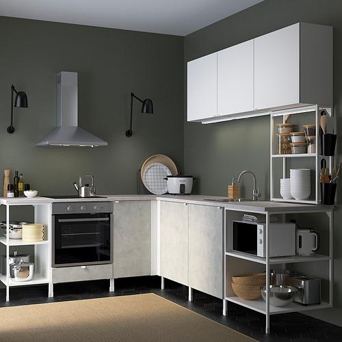 ENHET - 角位廚房, 白色/仿混凝土 白色 | IKEA 香港及澳門 - PE819755_S4