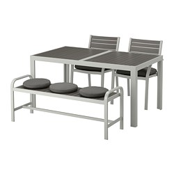 SJÄLLAND - table+2 chairs+ bench, outdoor, dark grey/Frösön/Duvholmen dark grey | IKEA Hong Kong and Macau - PE674389_S3