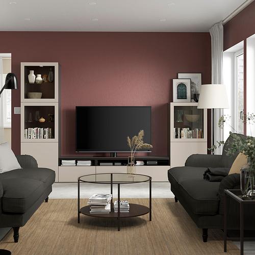 BESTÅ - 電視貯物組合/玻璃門, black-brown Sindvik/Lappviken light grey/beige | IKEA 香港及澳門 - PE819842_S4