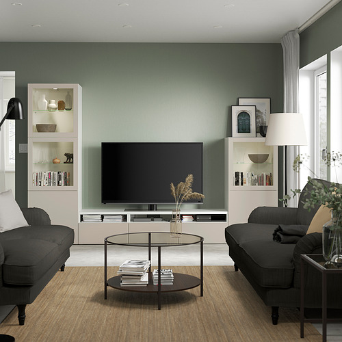 BESTÅ - 電視貯物組合/玻璃門, white Sindvik/Lappviken light grey/beige | IKEA 香港及澳門 - PE819837_S4