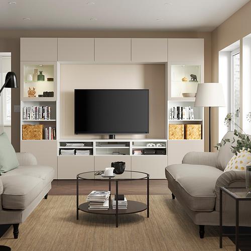 BESTÅ - 電視貯物組合/玻璃門, white Sindvik/Lappviken light grey/beige   IKEA 香港及澳門 - PE819883_S4