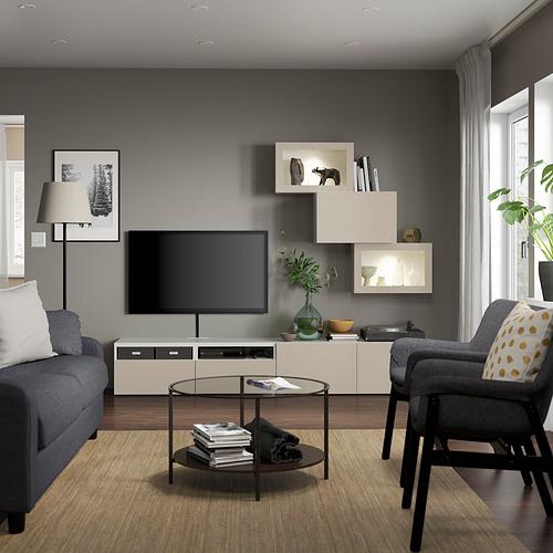 BESTÅ - 電視貯物組合/玻璃門, white Sindvik/Lappviken light grey-beige | IKEA 香港及澳門 - PE819900_S4