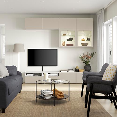 BESTÅ - 電視貯物組合/玻璃門, white Sindvik/Lappviken light grey/beige | IKEA 香港及澳門 - PE819926_S4