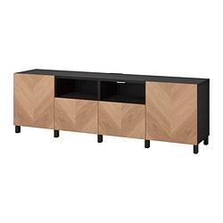 BESTÅ - 電視几連抽屜/門, black-brown/Hedeviken/Stubbarp oak veneer | IKEA 香港及澳門 - PE820159_S3
